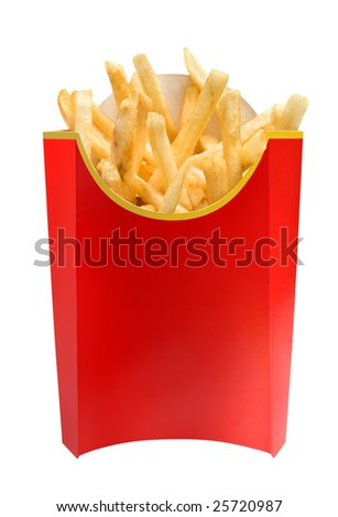 fast food french fries in cardboard container