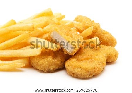 Fast food. French fries with nuggets. Unhealthy eating - stock photo