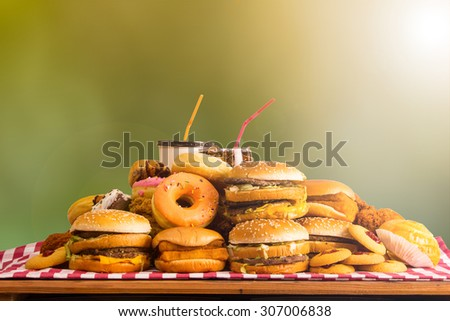 Fast food ,hamburger cheese for your lunch. - stock photo
