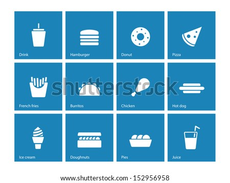 Fast food icons on blue background. See also vector version. - stock photo