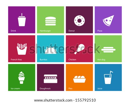 Fast food icons on color background. See also vector version. - stock photo