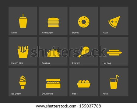 Fast food icons. See also vector version. - stock photo