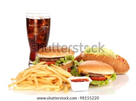 Fast food isolated on white - stock photo