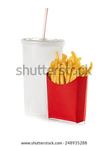 fast food isolated on white background - stock photo