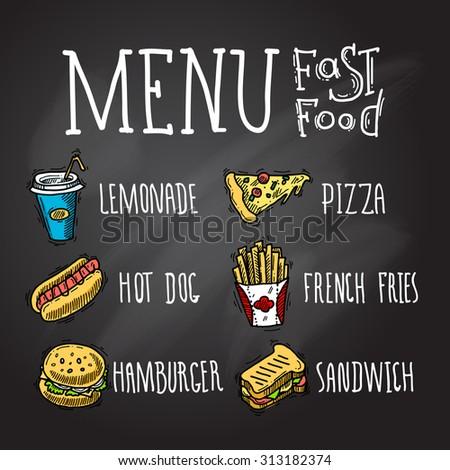 Fast food menu chalkboard decorative icons set with lemonade hot dog hamburger pizza french fries hamburger and sandwich isolated  illustration - stock photo