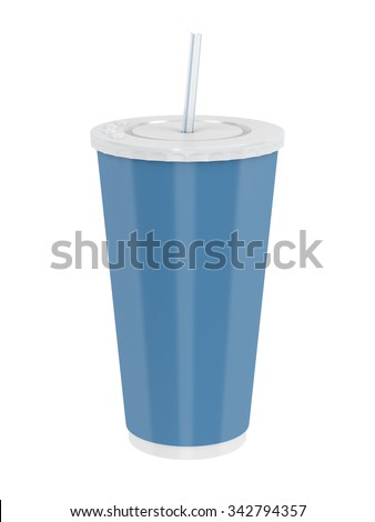 Fast food paper cup with straw isolated on white