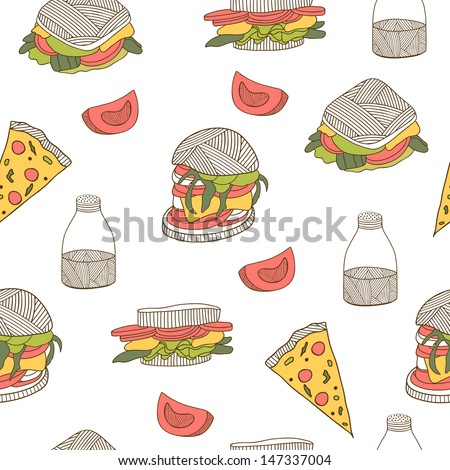 Fast food pattern. Seamless hand drawn pattern, good for backgrounds, fabric, kitchen and cafe stuff - stock photo