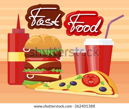 Fast food pizza burger design flat. Fast food restaurant, hamburger and restaurant, junk food, lunch dinner, drink and snack, sandwich and unhealthy eat, soda tasty illustration. Raster version
