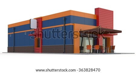 Fast food restaurant building on white background.3d render