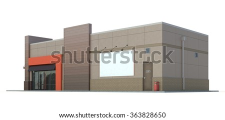 Fast food restaurant building on white background.3d render - stock photo