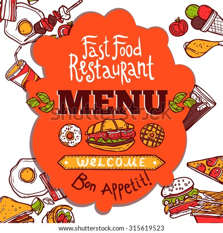 Fast food restaurant colored menu with sketch dishes drinks and enjoy your meal text  illustration