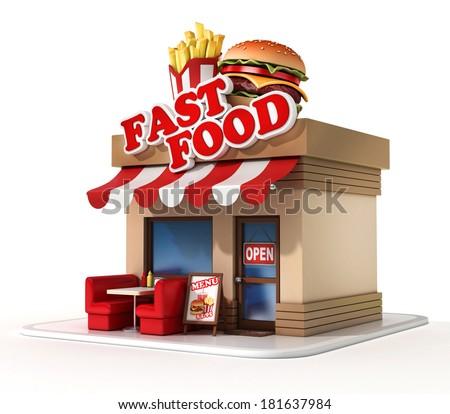 fast food restaurant 3d illustration - stock photo