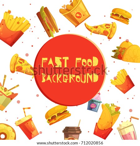Fast Food Restaurant Menu Items Decorative Stock Illustration ...