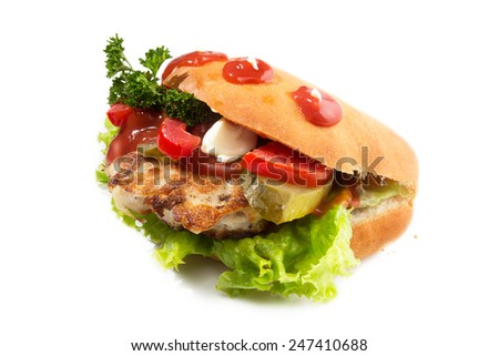 Fast food sandwich on white background.