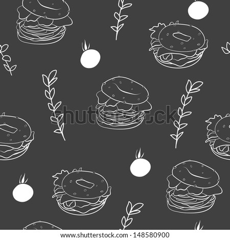 Fast food seamless pattern. Chalkboard drawings. Good for backgrounds, fabric, kitchen and cafe stuff - stock photo
