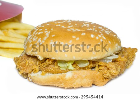 Fast food tasty chicken burger with fried potatoes.