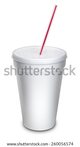 Fast food To Go cup with Lid Isolated on White - stock photo