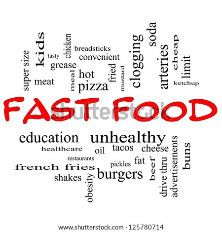 Fast Food Word Cloud Concept in red caps with great terms such as unhealthy, fat, grease, hamburger, meal and more.