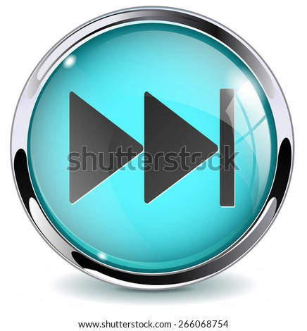 Fast forward button. Glossy icon with metallic frame. Isolated on white background. Raster version - stock photo