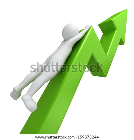 fast growing up green graph and 3d human - stock photo