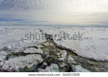 Fast ice in the Antarctic - stock photo