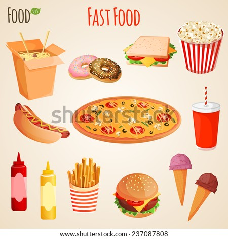 Fast junk food icons flat set of french fries hamburger soda drink isolated  illustration