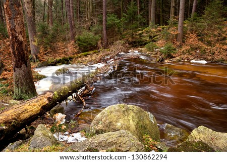 fast mountain river in Harz mountains with long exposure