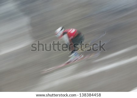 Fast moving ski racers, Stowe, Vermont, USA - stock photo