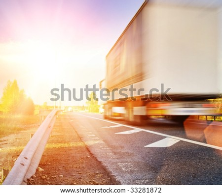 Fast moving truck - stock photo