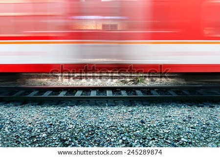 Fast-moving truck, motion blur picture. - stock photo