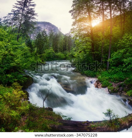 fast river in the mountains  - stock photo