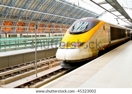 Fast train locomotive at St.Pancras London platform - stock photo
