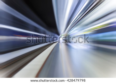 fast train passing by in subway station