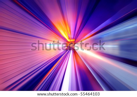 Fast train passing in a neon light tunnel - stock photo
