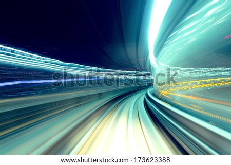 Fast train passing tunnel - stock photo