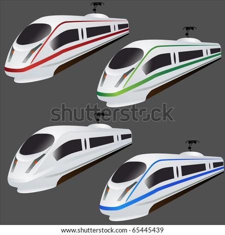 Fast train set isolated on grey - stock photo