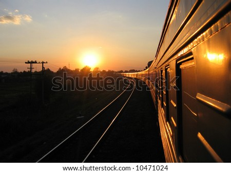 Fast train turn to the left - stock photo