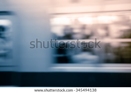 Fast train with motion blur. - stock photo