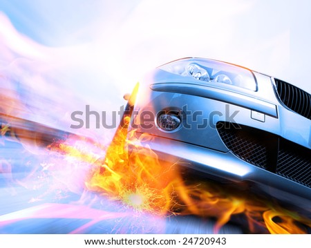 Fast vehicle moving with motion blur with fire burning tires - stock photo