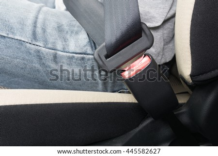 Fasten the car seat belt. Safety belt safety first