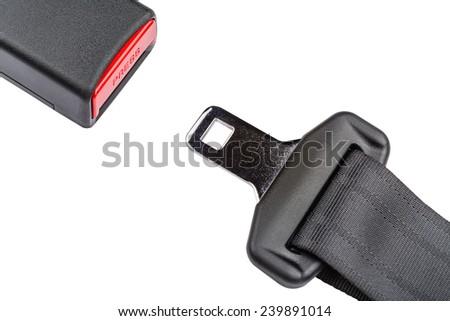 Fastened seat belt, isolated on white background. - stock photo