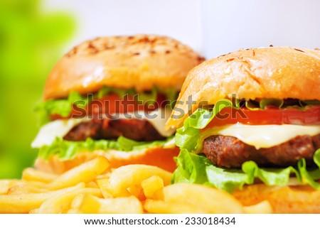 fastfood burgers - stock photo