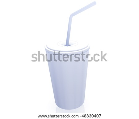 Fastfood cup illustration glossy metal style isolated