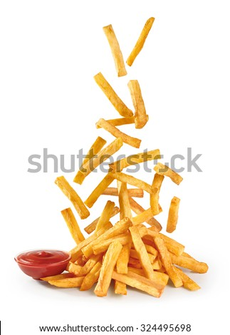 Fastfood. Flying fried potatoes and ketchup isolated on white background. French fries. - stock photo