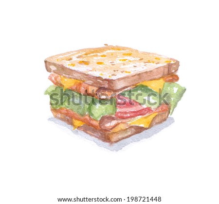 fastfood watercolor sandwich for breakfast. Dish for caffes menu - stock photo