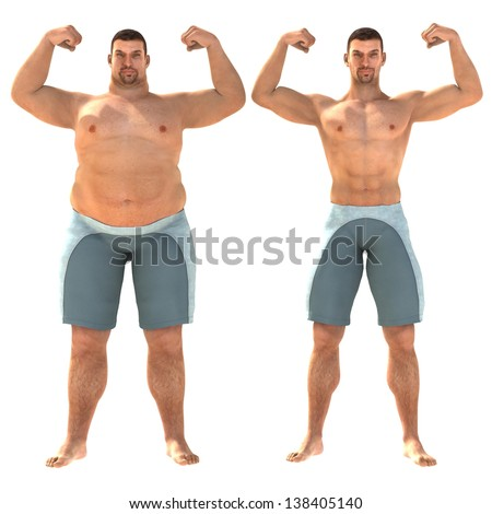 Fat and slim man opposite each other on white background - before and after diet - stock photo
