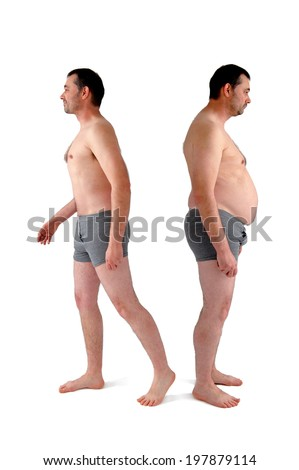 fat and slim version of the same man - stock photo