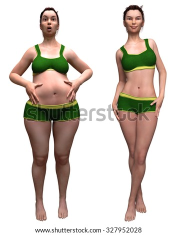 Fat and slim woman opposite each other on white background - before and after diet, proper nutrition, Fitness and Wellness - stock photo