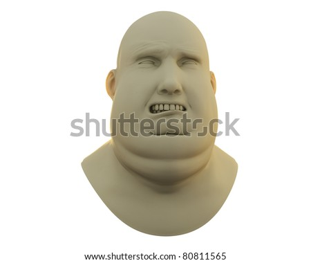 fat guy sad emotion bust isolated over white