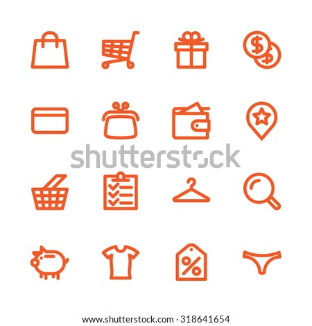 Fat Line Icon set for web and mobile. Modern minimalistic flat design elements of shopping process and retail service - stock photo